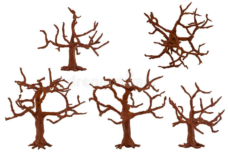 Dried paper and foam trees. Dried trees made of paper and foam, for assemblies and models vector illustration