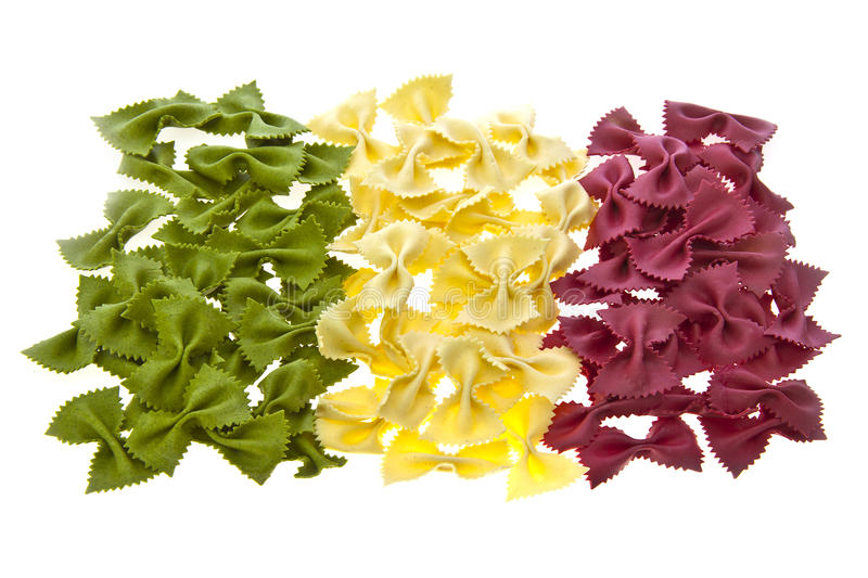 Dried pasta bows in the shape of the Italian Flag stock photos
