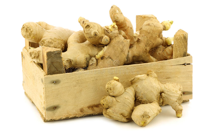 Dried Pieces Of Ginger Root In A Wooden Crate Royalty Free Stock Photos