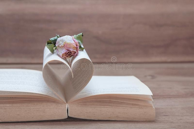 Dried pink rose on the old Heart shaped book, pink tones. stock image