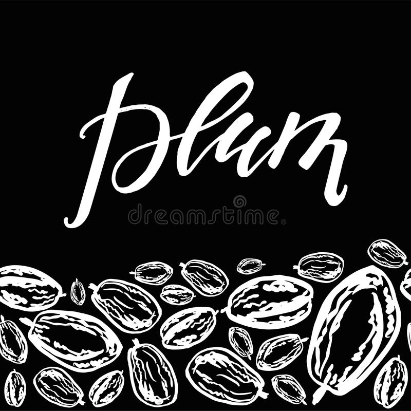 Dried plums pattern on black background. Seamless pattern with dried plums on black background. Cute doodle illustration royalty free illustration