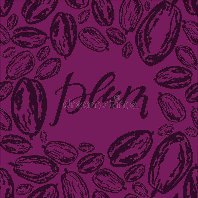Dried plums pattern on violet background. Seamless pattern with dried plums on purple background. Cute doodle illustration royalty free illustration