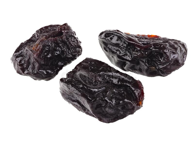 Dried prunes isolated on a white background stock photography