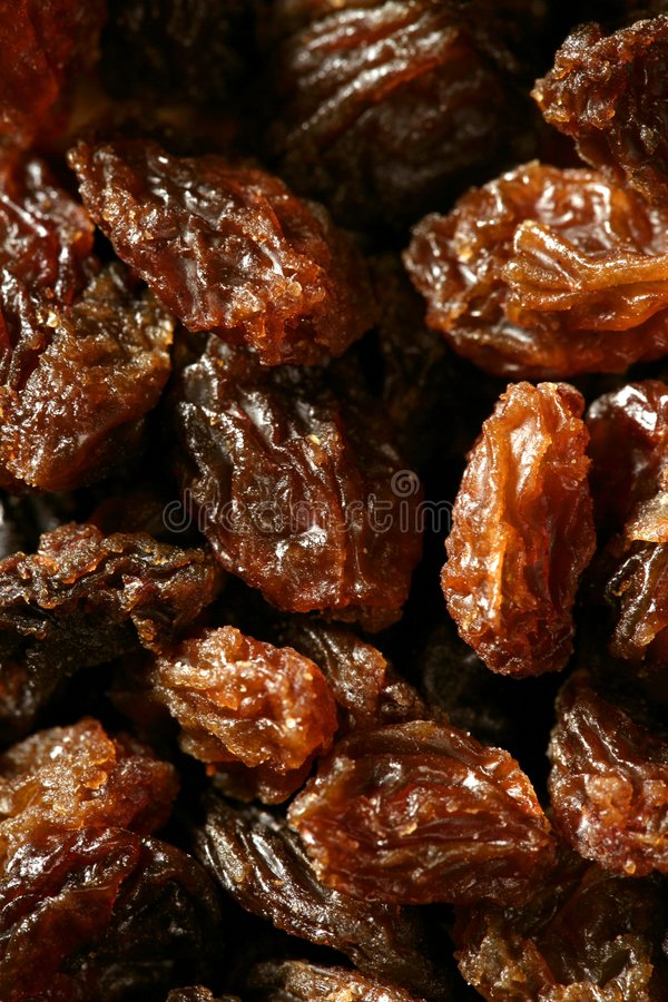 Dried raisin macro texture in a close up crop royalty free stock images