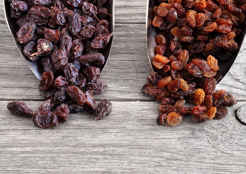 Dried raisins Turkish and Spanish (Malaga). Raisins from Malaga with stones. Dried raisins Raisins from Malaga with stones. Dried raisins on the wood backgraund stock images