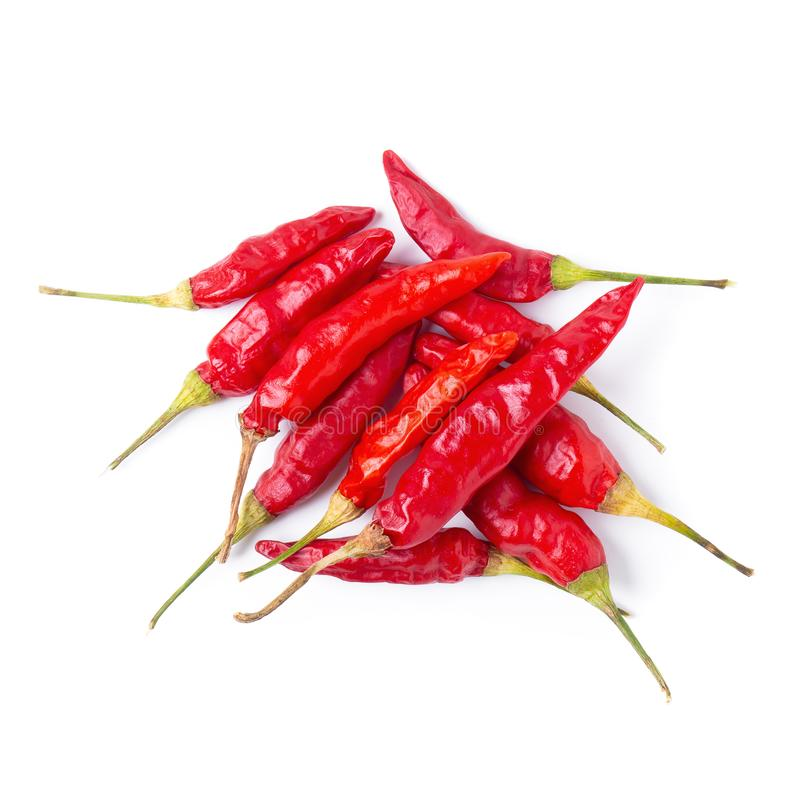 Dried red chili or chilli cayenne pepper isolated on white background stock photo