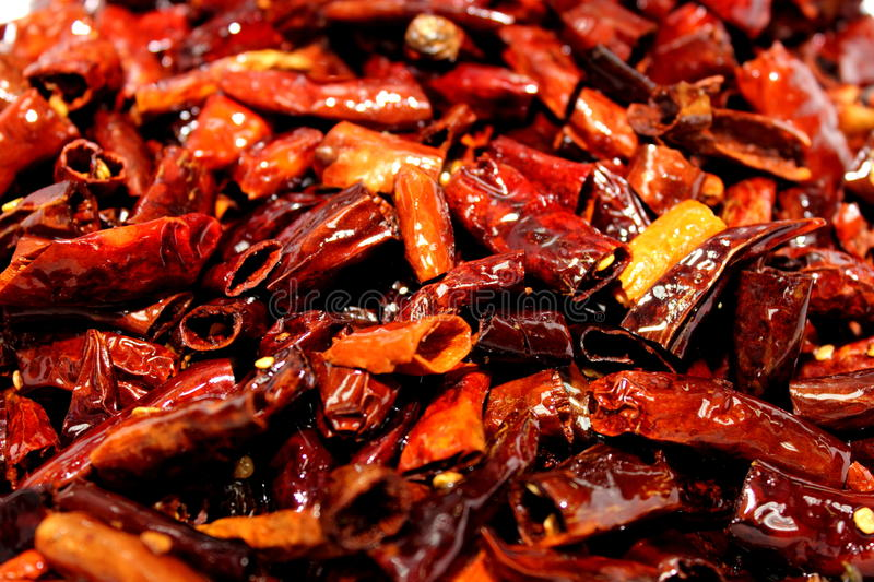 Dried red chilli peppers. At the largest spice market royalty free stock photos