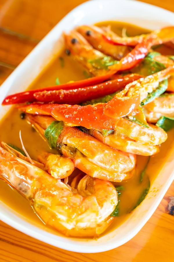 Dried Red Curry-fried  with Shrimps. Thai food style royalty free stock photo