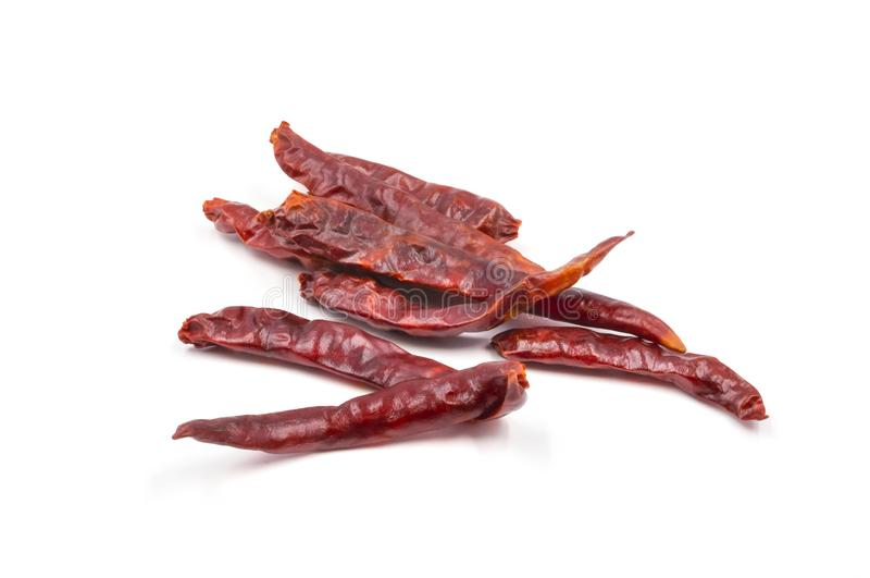 Dried red hot chili or chilli cayenne pepper isolated on white background royalty free stock photos