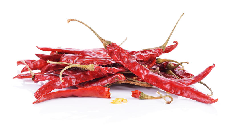 Dried red hot peppers isolated royalty free stock images