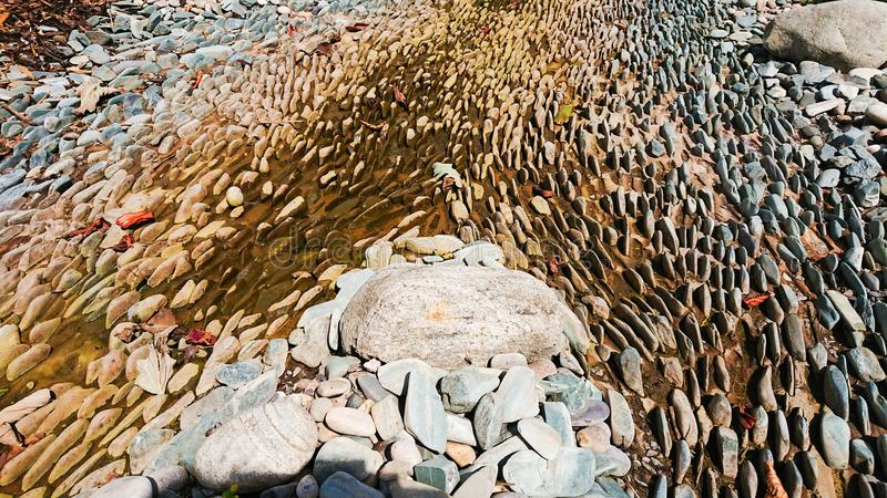 Dried river bed with jagged rocks. A dried up river bed with jagged rocks on the bottom royalty free stock photo