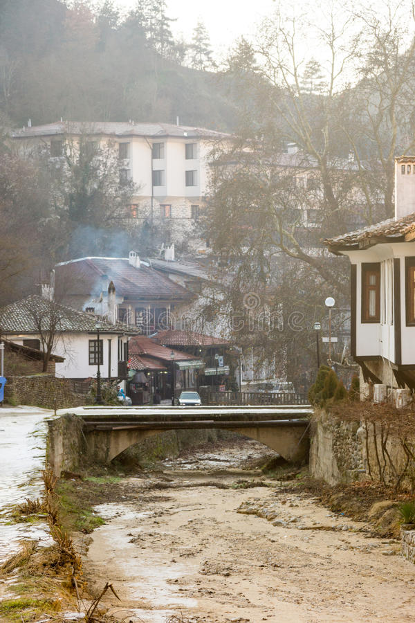 Dried river in the center of the old Melnik in Bulgaria royalty free stock image