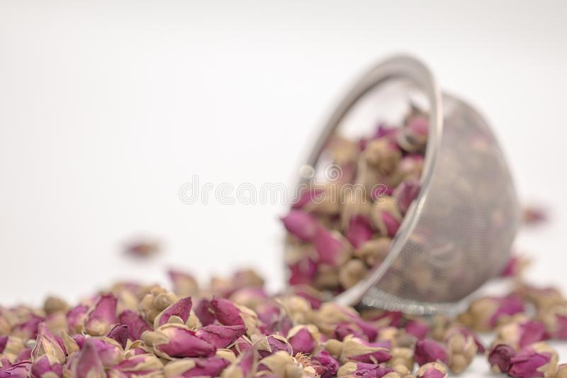 Dried rose petal flower on isolate white background.Blurred close up dried roses flower tea on white background. royalty free stock photos