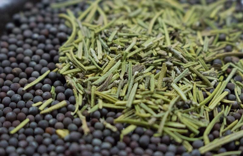 Dried rosemary with black mustard seeds closeup. Spices background. Aroma herbs and spices. royalty free stock photography