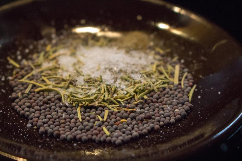 Dried rosemary with black mustard seeds, salt and black pepper powder closeup. Aroma herbs and spices on plate. stock photography
