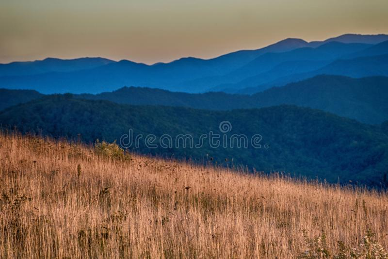 Blue mountain layers above orange grasses of fall. royalty free stock photo