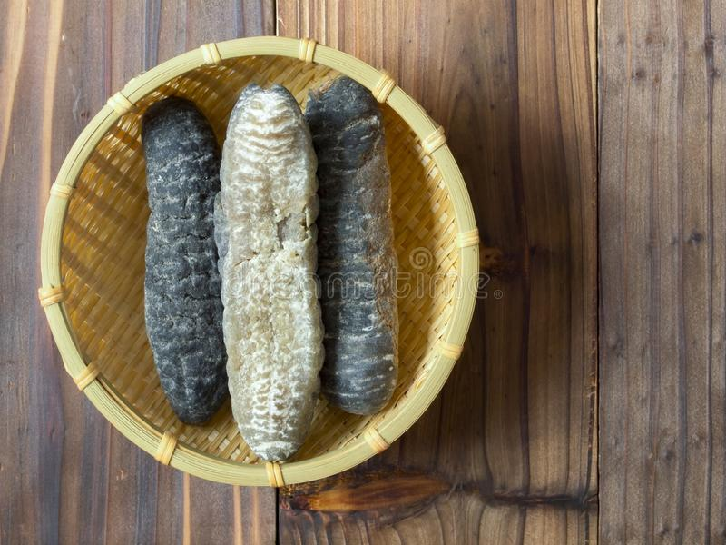 Dried sea cucumber. Close up of dried sea cucumber royalty free stock image