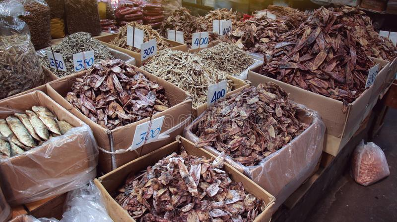 Dried seafood market sell dried squid and fish or product from the sea stock photos