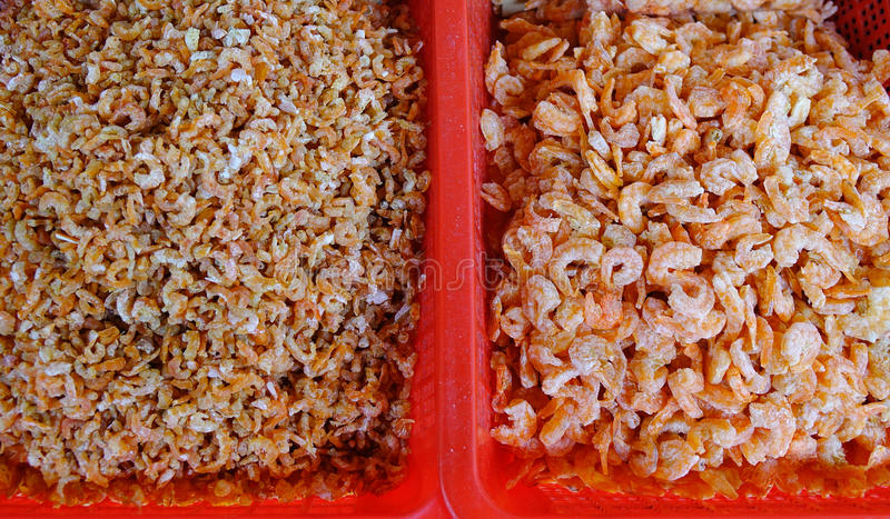 Dried seafood at the market royalty free stock photos