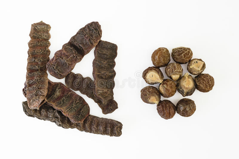 Dried Shikakai pods and Soapnuts stock photo