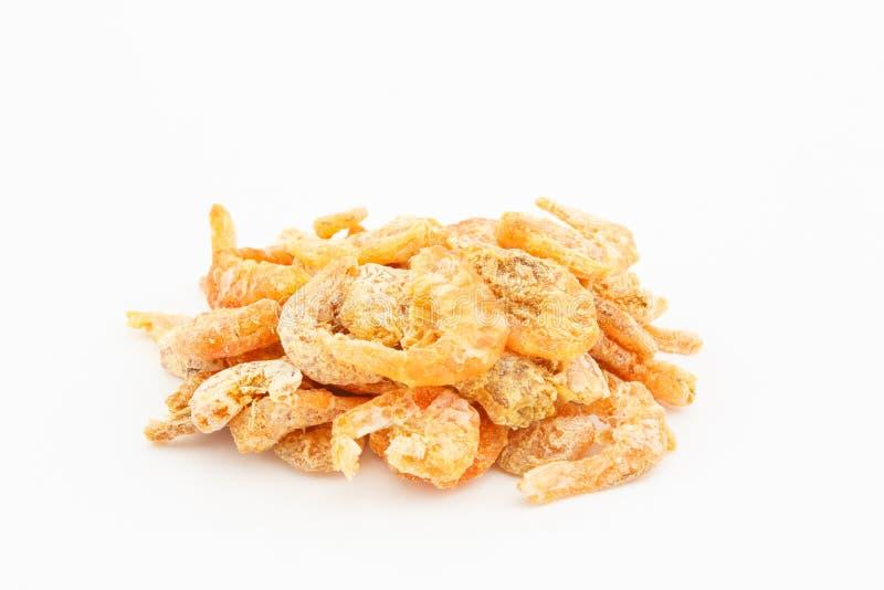 Dried shrimp on white background stock photography