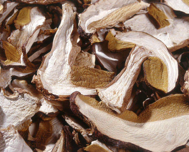 Dried sliced mushrooms. Background closeup of sliced dried mushrooms for use as a flavouring ingredient in cooking stock photography