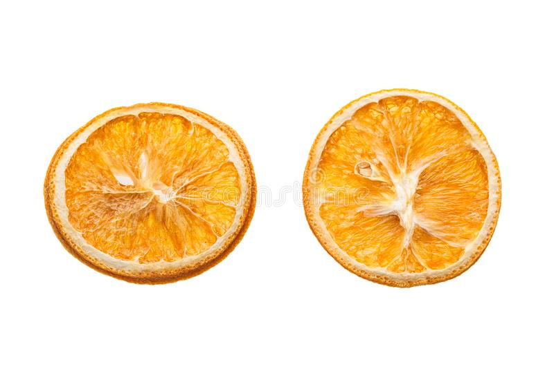 Dried slices of orange isolated on white background for your christmas project stock images