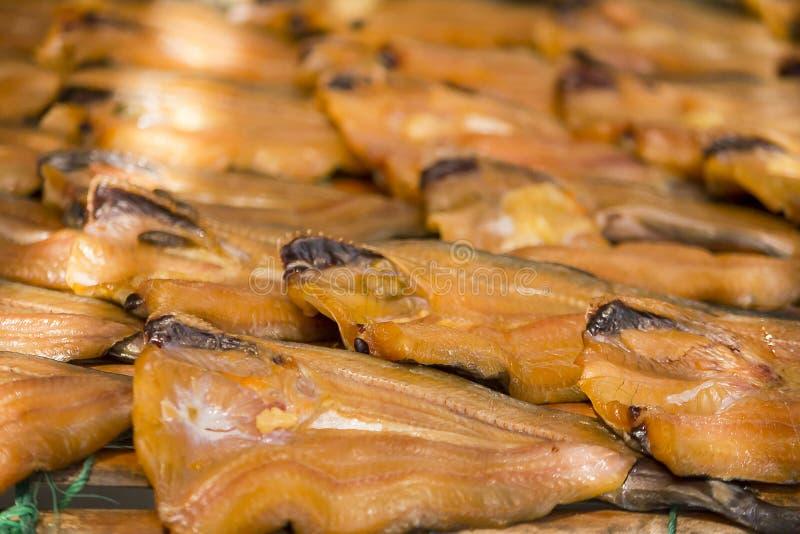 Dried snakehead fish Simple food menu stock images
