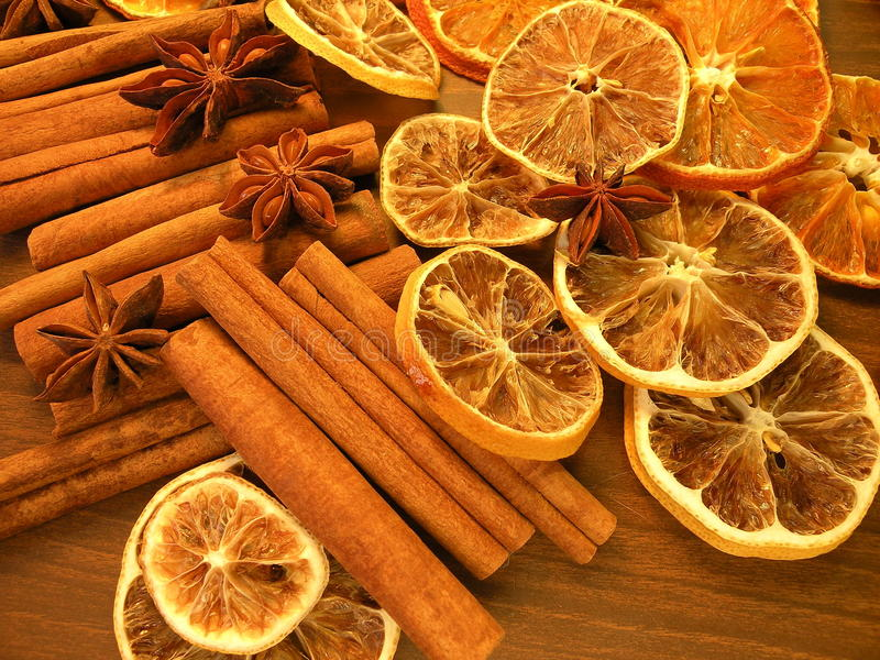 Dried spices and fruits royalty free stock photography