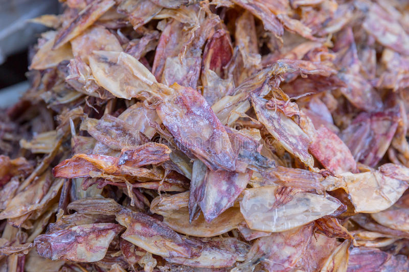 Dried squid for food sale at Mahachai market royalty free stock image