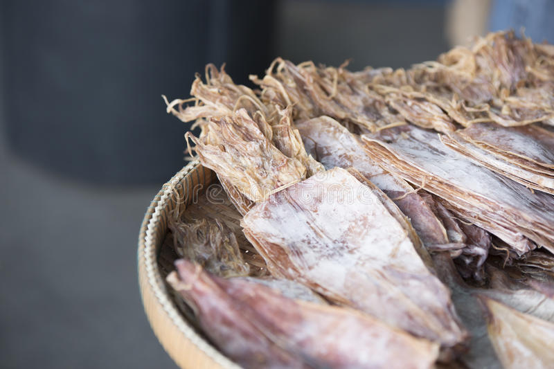 Dried squid market. Squid seafood market in Thailand royalty free stock photo