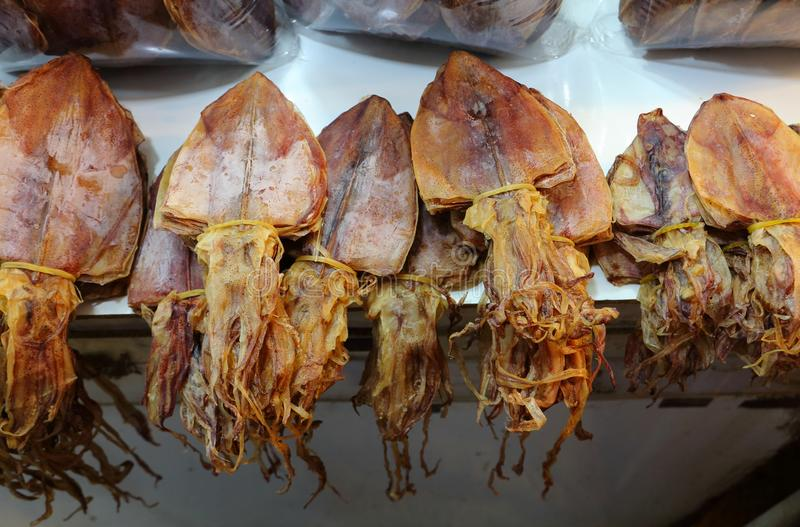 Dried squid on the seafood market royalty free stock photos