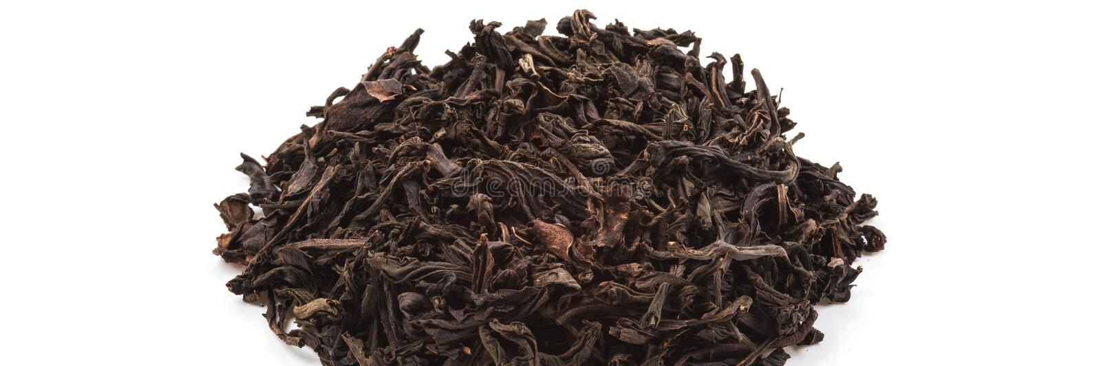 Dried tea poured a slide on a white background. Is isolated royalty free stock images
