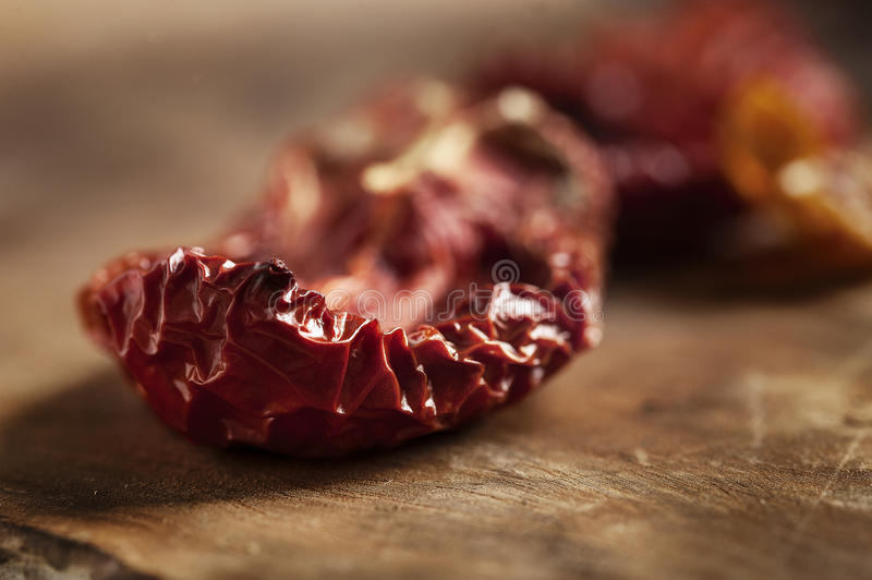 Dried tomatoes close up stock image