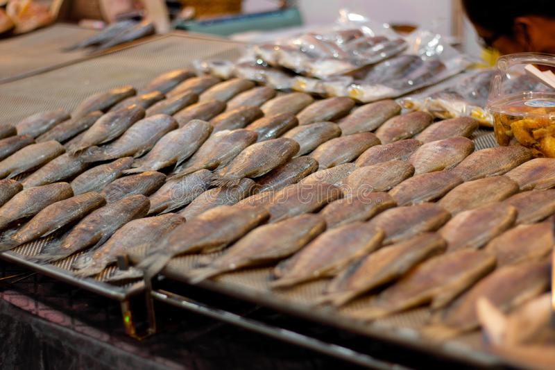 Dried Trichogaster pectoralis fish , Sun dried fish. In the market royalty free stock photos