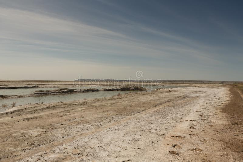 The dried-up Aral sea in summer, the water crisis on the planet and the concept of climate change. The dried-up Aral sea, the water crisis on the planet and the royalty free stock photos