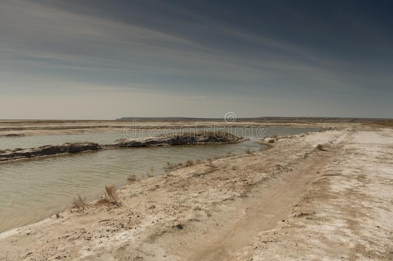 The dried-up Aral sea in summer, the water crisis on the planet and the concept of climate change. The dried-up Aral sea, the water crisis on the planet and the stock image