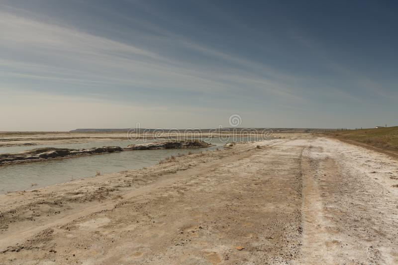 The dried-up Aral sea in summer, the water crisis on the planet and the concept of climate change. The dried-up Aral sea, the water crisis on the planet and the royalty free stock images