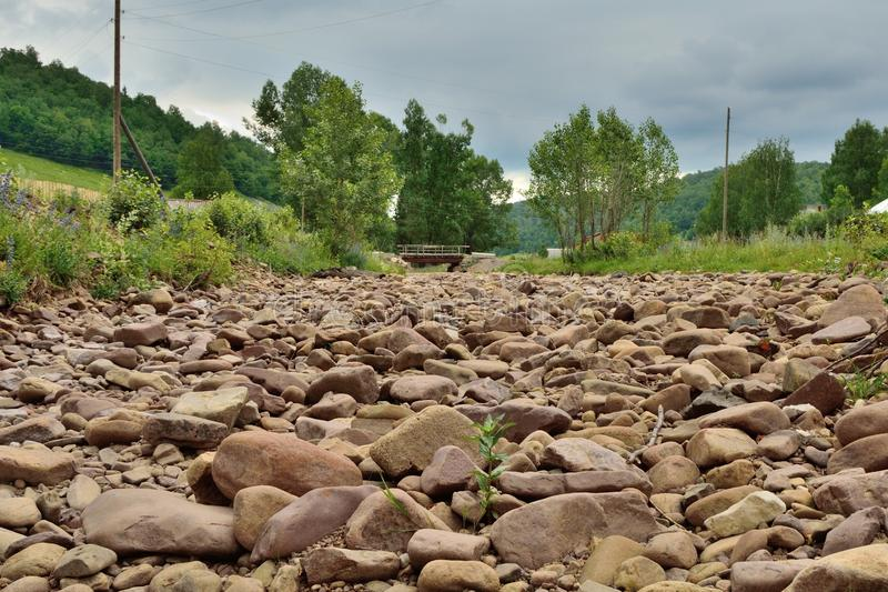 A dried up river. The river has dried up water royalty free stock images