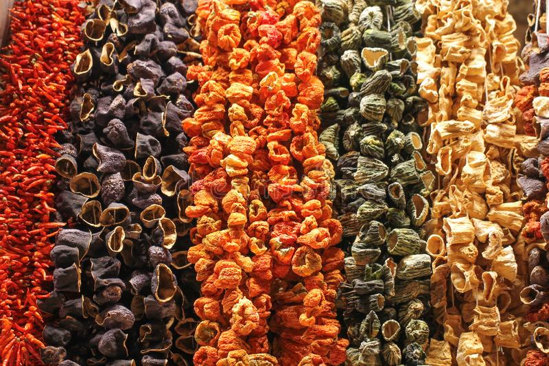 The dried vegetables suspended on a thread. Istanbul. Egyptian Bazaar stock images