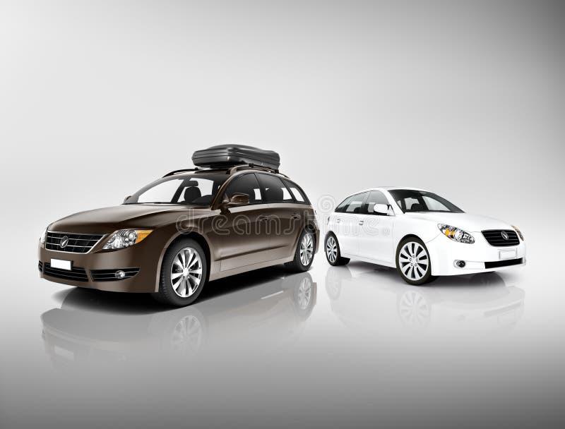 Driedimensioneel Beeld van Zwart-witte Auto's stock illustratie