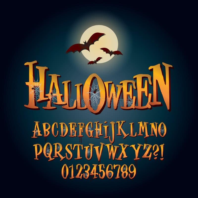 Driedimensioneel Halloween-Alfabet en Cijfer Vec vector illustratie