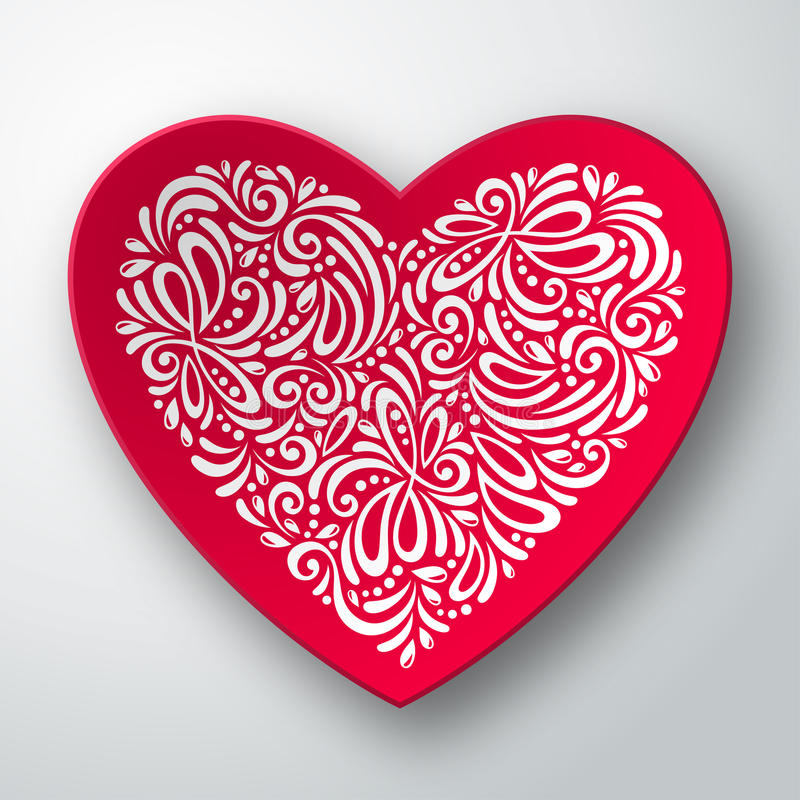 Driedimensioneel hart met wit patroon vector illustratie