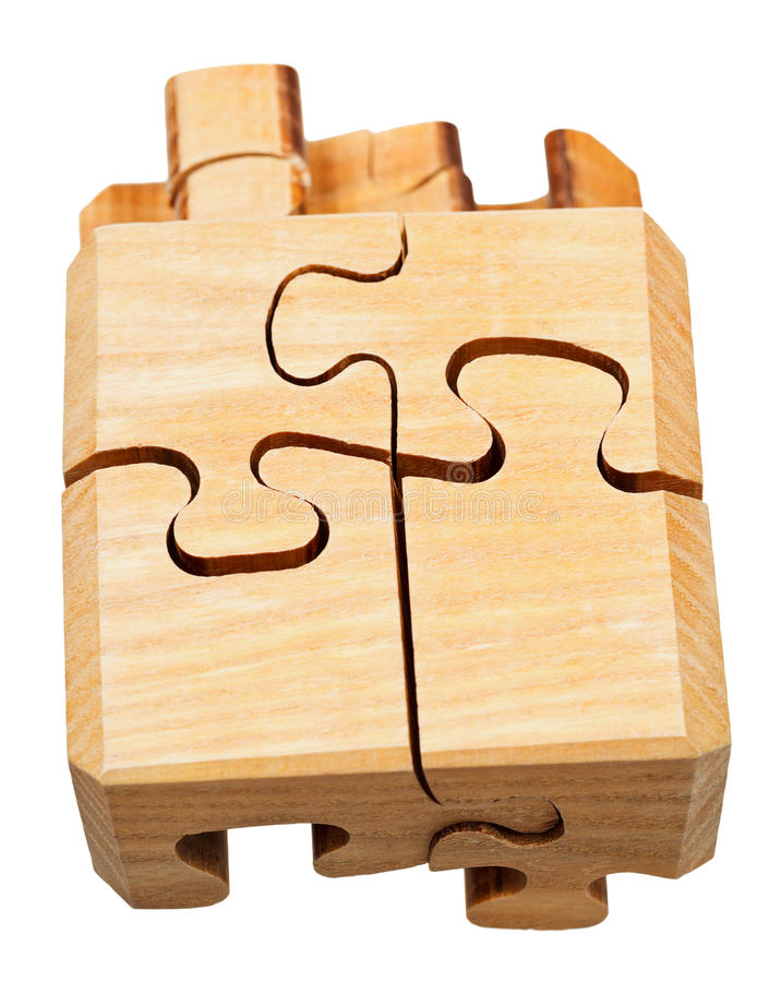 Driedimensioneel houten mechanisch raadsel royalty-vrije stock afbeelding