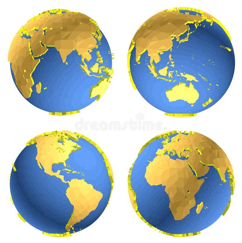 Driedimensioneel model van de aarde vector illustratie