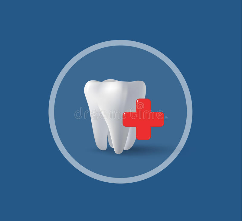 Driedimensioneel tand en kruis royalty-vrije illustratie