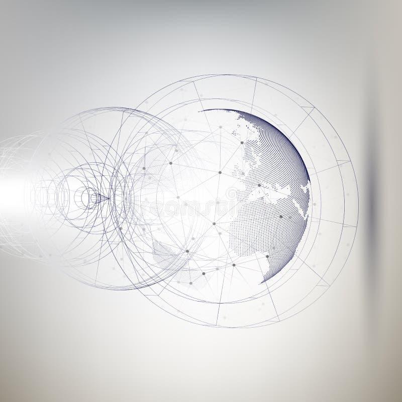 Driedimensionele gestippelde wereldbol met abstracte bouw en molecules op grijze achtergrond, lage polyontwerpvector royalty-vrije illustratie