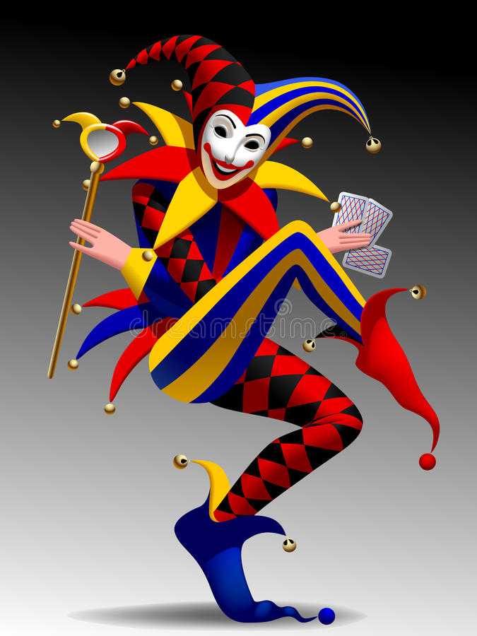 Driedimensionele grimassen trekkende en glimlachende Joker met speelkaarten vector illustratie