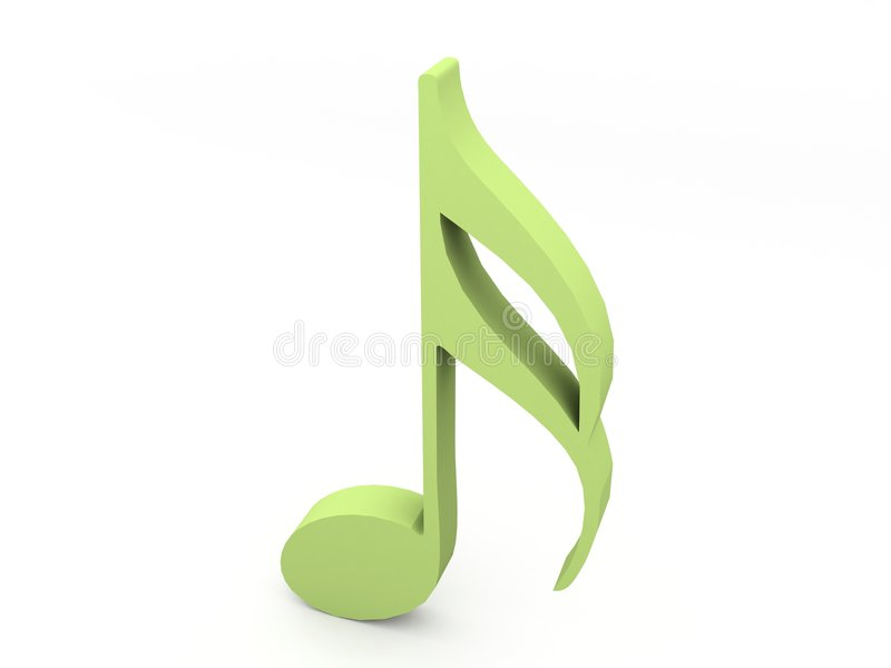 Driedimensionele groene muzieknoot stock illustratie