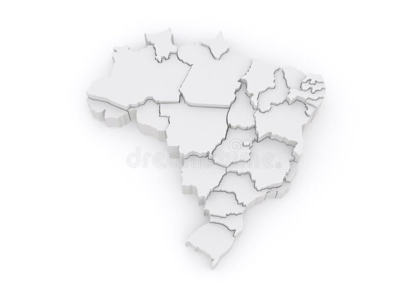 Driedimensionele kaart van Brazilië. royalty-vrije illustratie